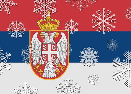 serbia: serbia flag with snowflakes