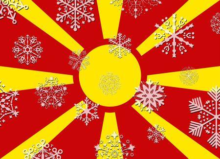 macedonia: macedonia flag with snowflakes