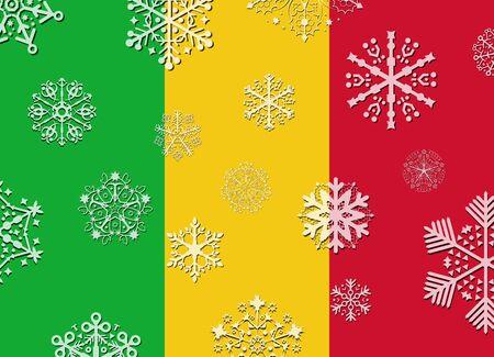 mali: mali flag with snowflakes