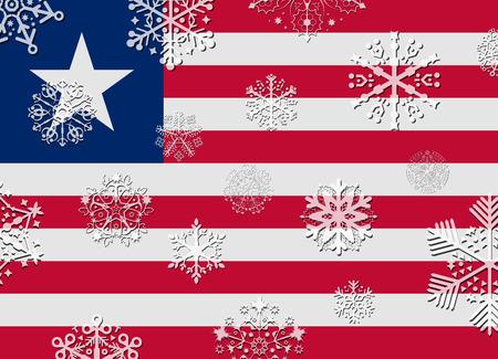liberia: liberia flag with snowflakes