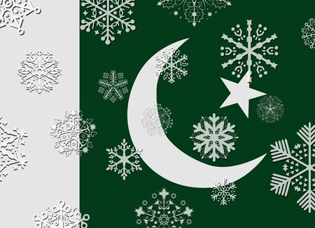 flag of pakistan: pakistan flag with snowflakes Illustration