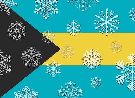 bahamas: bahamas flag with snowflakes