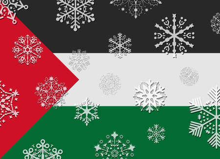 palestine: palestine flag with snowflakes