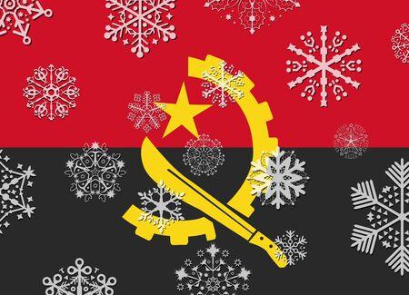 angola: angola flag with snowflakes