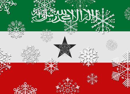 somaliland: somaliland flag with snowflakes Illustration