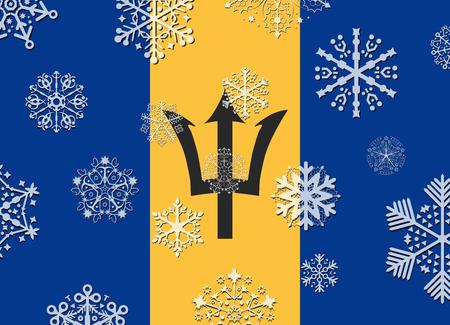 barbados flag with snowflakes Illustration