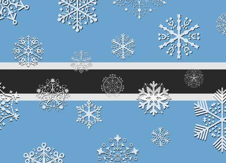 botswana: botswana flag with snowflakes