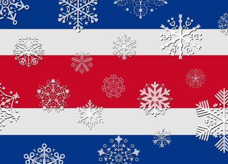 bandera de costa rica: bandera de Costa Rica con copos de nieve