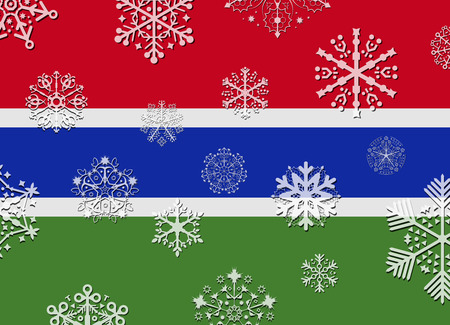 gambia: gambia flag with snowflakes Illustration