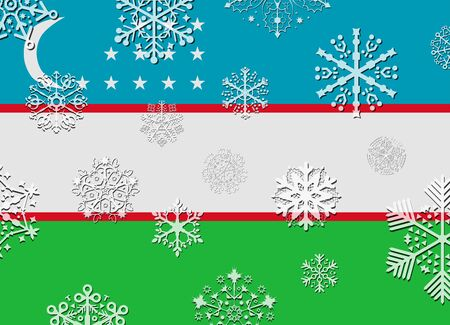 uzbekistan: uzbekistan flag with snowflakes