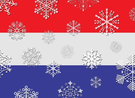 netherlands: netherlands flag with snowflakes
