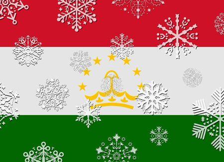 tajikistan: tajikistan flag with snowflakes