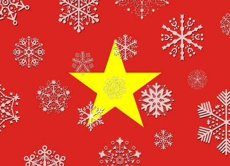 vietnam flag: vietnam flag with snowflakes Illustration