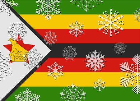 zimbabwe: zimbabwe flag with snowflakes
