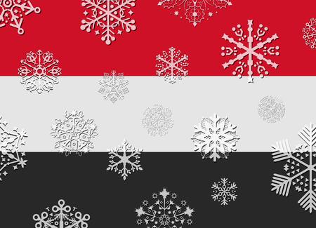 yemen: yemen flag with snowflakes Illustration