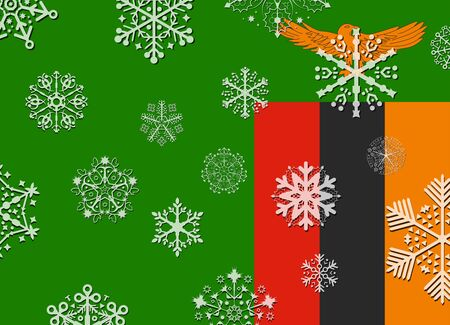 zambia: zambia flag with snowflakes Illustration