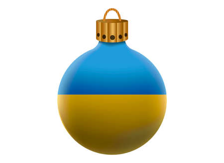 emblem of ukraine: ukraine christmas ball isolated
