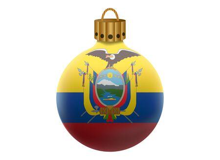 ecuador: ecuador christmas ball isolated