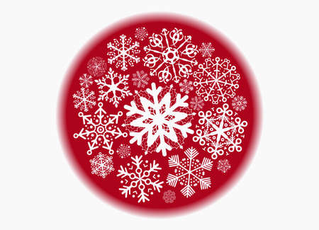 red sphere: red sphere with snowflakes Illustration