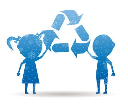 niños reciclando: los niños de reciclaje icono de la Navidad con nieve