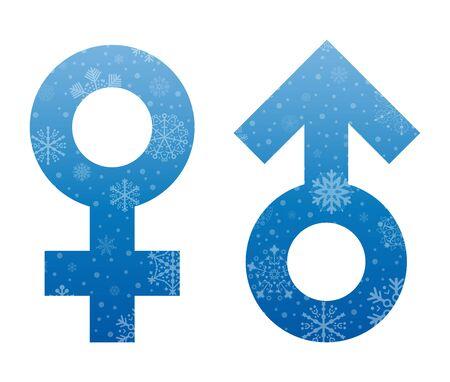 simbol: interlaced symbols christmas icon with snow