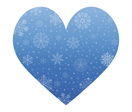 christmas icon: heart christmas icon with snow