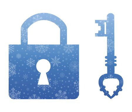 lock and key: lock and key christmas icon with snow