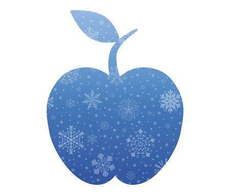 apple christmas: apple christmas icon with snow Illustration