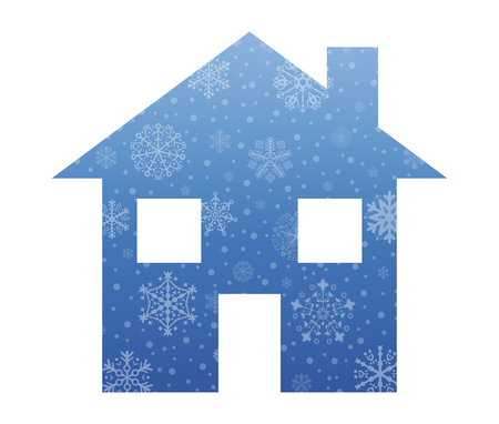 christmas house: house symbol christmas icon with snow Illustration