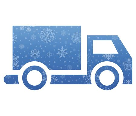 truck christmas icon with snow Illustration