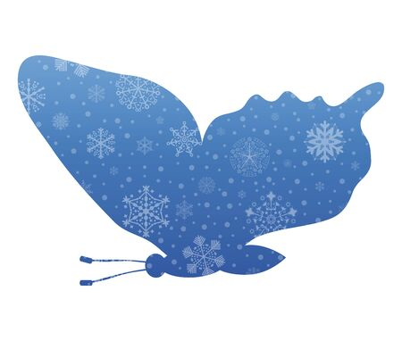 butterfly flying: butterfly flying christmas icon with snow