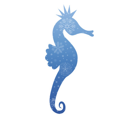 christmas icon: seahorse christmas icon with snow
