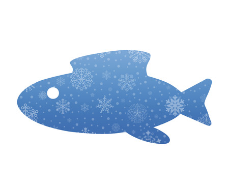 abstract fish: abstract fish christmas icon with snow Illustration