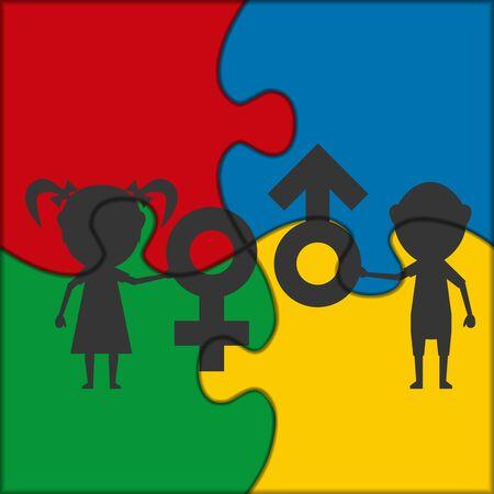 female symbol: symbol male and female children puzzle icon