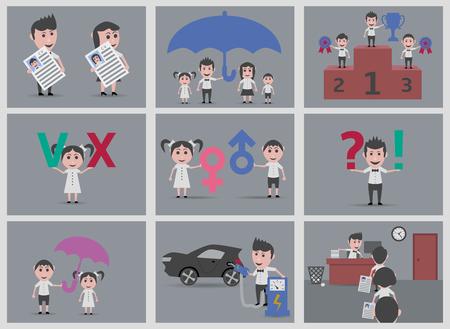 varied: set 9 dolls varied backgrounds Illustration