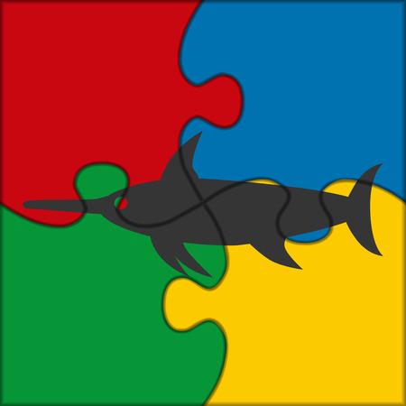 pez espada: rompecabezas icono de pez espada Vectores