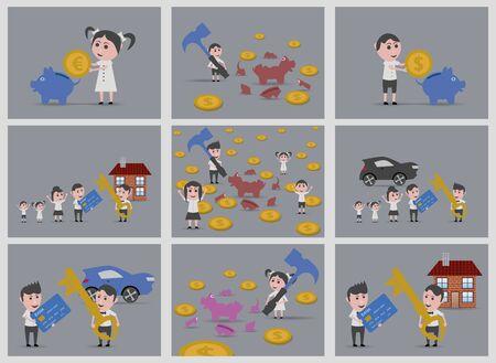 woman credit card: 9 dolls savers backgrounds Illustration