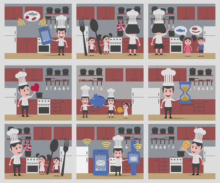backgrouns: set 9 backgrouns in kitchen Illustration