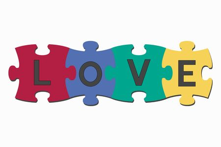 cooperate: word puzzle pieces love