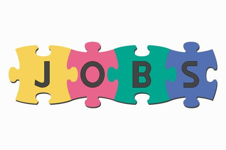 jobs: word puzzle pieces jobs Illustration