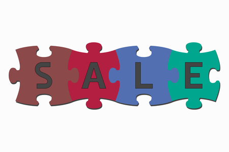 cooperate: word puzzle pieces sale Illustration