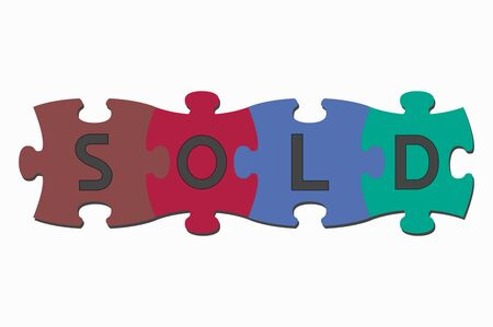sold: word puzzle pieces sold