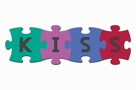 cooperate: word puzzle pieces kiss Illustration