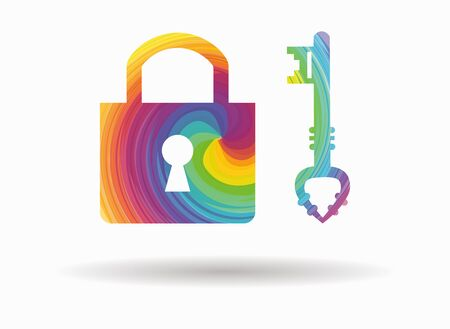 key lock: lock and key colorful icon