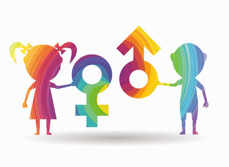 female symbol: boy and girl male and female colorful icon