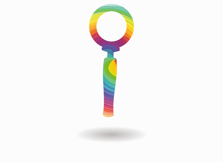 investigating: magnifying glass colorful icon Illustration