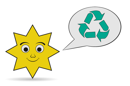 utilization: sun recycling icon Illustration