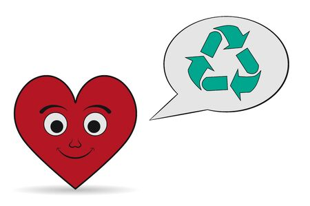 utilization: love recycling icon Illustration