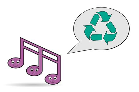 positive note: music note recycling icon Illustration