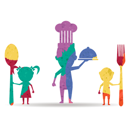 family eating: family eating drawn painted icon vector